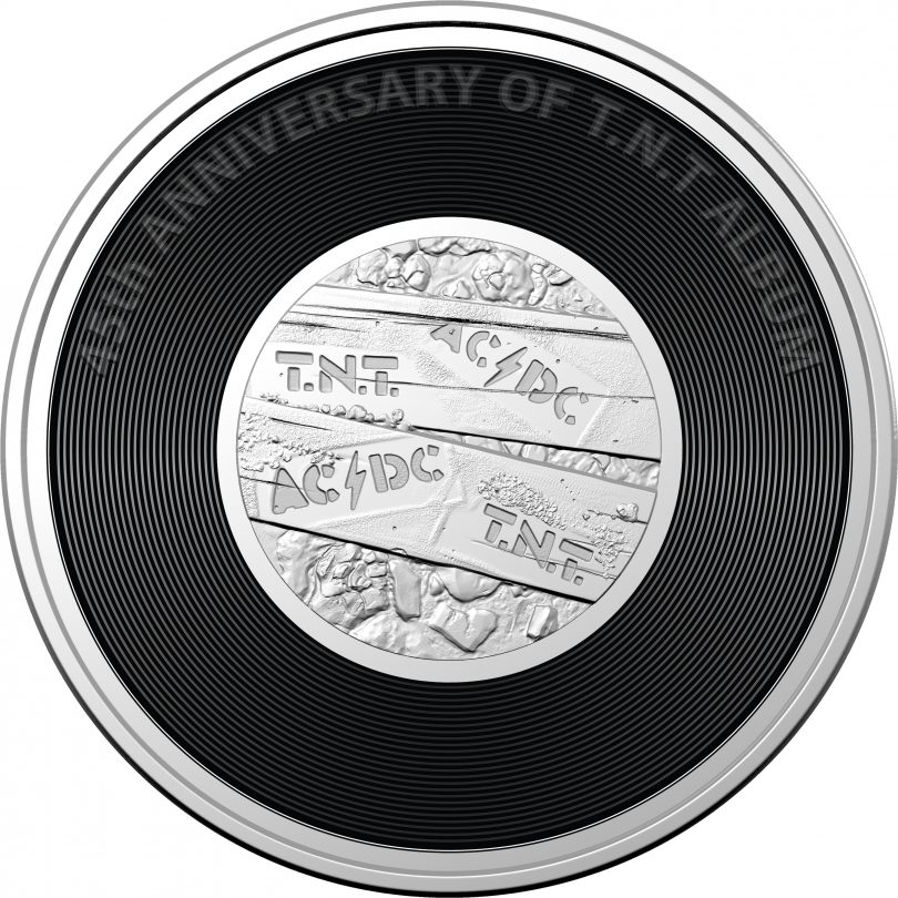 Coloured 20-cent coin marking the 45th anniversary of AC/DC's T.N.T.