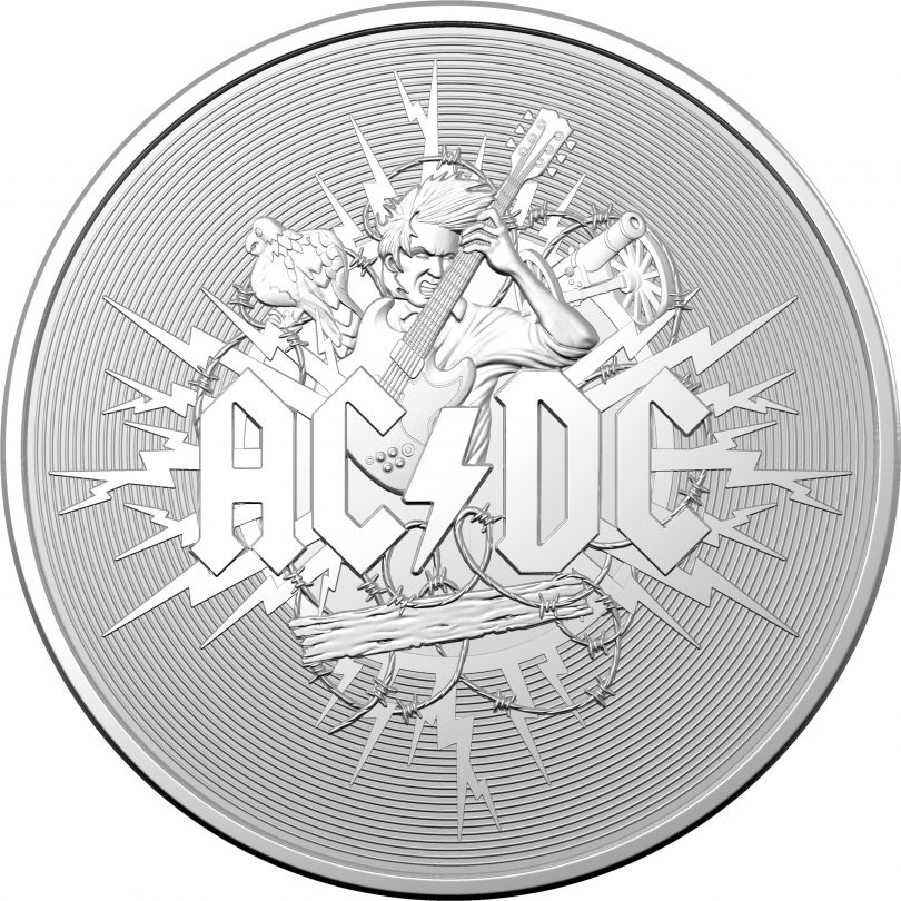 Image of $1 silver-frosted AC/DC coin.