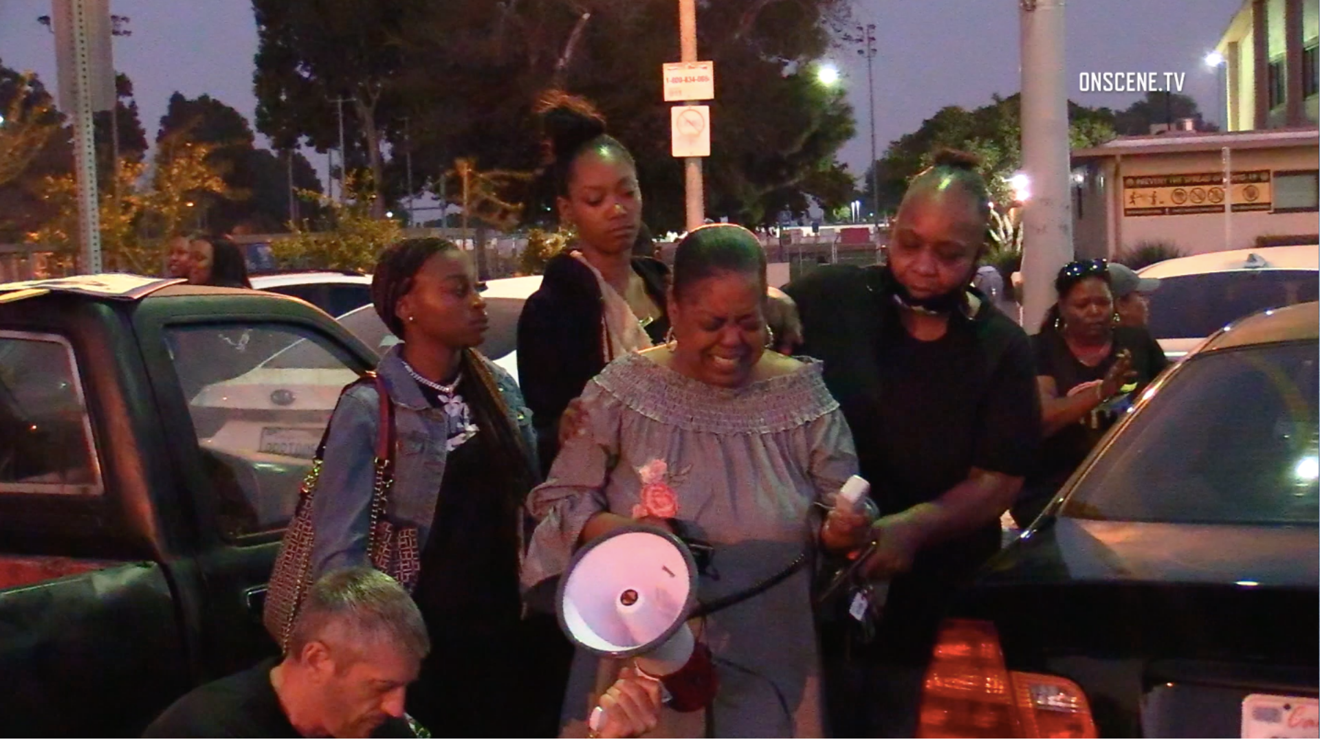 Loved ones of a man shot by an L.A. County sheriff's deputy speak at a rally in Willowbrook on Oct. 18, 2020. They identified the man as Fred Williams. (Onscene.tv)